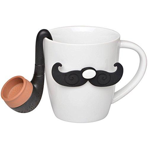 La Chaise Longue 35-1K-018 Coffret Mug et Infuseur à thé The Gentleman Moustache et pipe Blanc et noir Céramique et silicone H16,2 x 12 cm x 23,5 cm