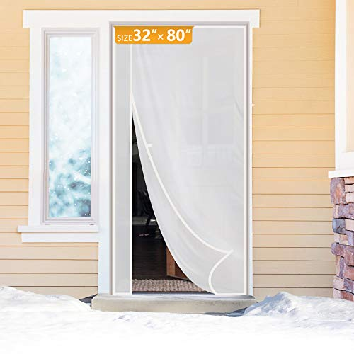Yotache Magnetic Thermal Insulated Door Curtain Fits Door Size 32 x 80, Reversible Left Right Side Opening Plastic TPU Magnet Door Covers for Front, Kitchen Warm Winter Cool Summer, Semi-Transparent