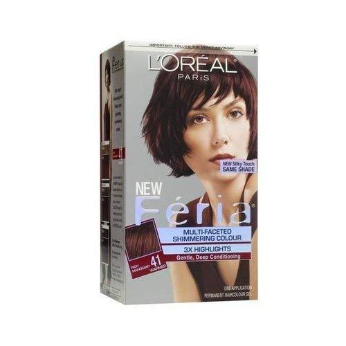 Feria Permanent Haircolour Gel, Permanent, Rich Mahogany 41 Warmer 1 ct (Pack of 3)
