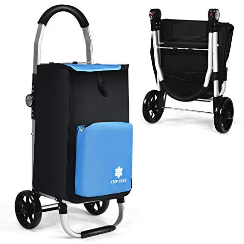DREAMADE Multifunktionaler Einkaufstrolley, Einkaufswagen Einkaufsroller Klappbar, Marktroller Einkaufstasche auf Rollen, Kaufwagen mit große Kapazität (Upgraded)