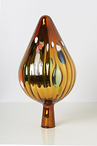 Rosenkugel aus Glas für den Garten – perfekte handgemachte Garten-Dekoration für Ihr Blumenbeetin vielen Farben, Formen und Größen, Hoche 33cm und Durchschnittlich 17cm, Gold mit Farben Spitze