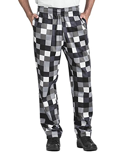 Men's Checkerboard Print Baggy Chef Pant (XX-Large)