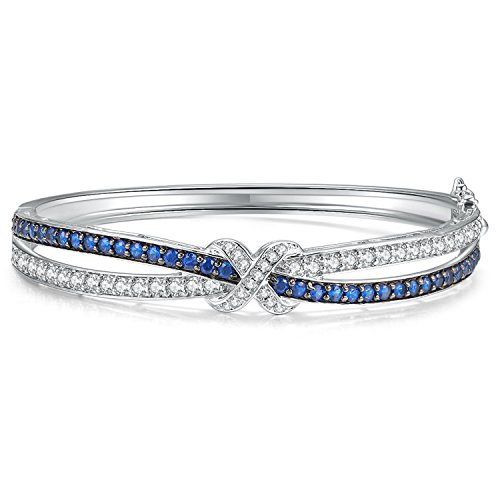 Caperci Cubic Zirconia Created Blue Sapphire Love Knot Bangle Bracelet for Women 725#039#039
