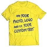 lepni.me Camisetas Hombre Regalo Personalizado, Agregar Logotipo de la Compañía, Diseño Propio o Foto (Medium Amarillo Multicolor)