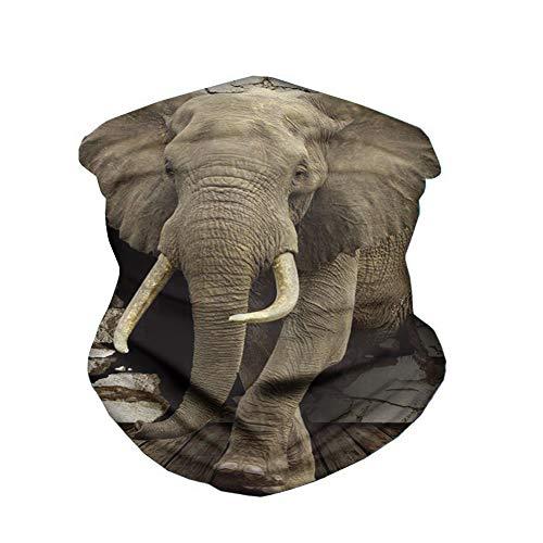 ECONG Elephant Bandana Multifonction Guêtres de Cou Écharpe sans Couture Gaiter Neck Rapide Écharpe Salive Dust UV Outdoor Cycling Camping Randonnée