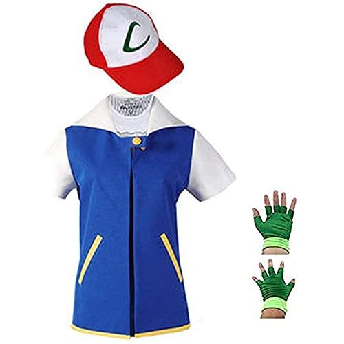 Pokemon Ash Ketchum Cosplay Frauen und Männer Anime Blue Jacke Hut Handschuhe Sets Kinder Erwachsene Ketchum Party Pokemon Halloween Kostüm - Blau, Kinder 140