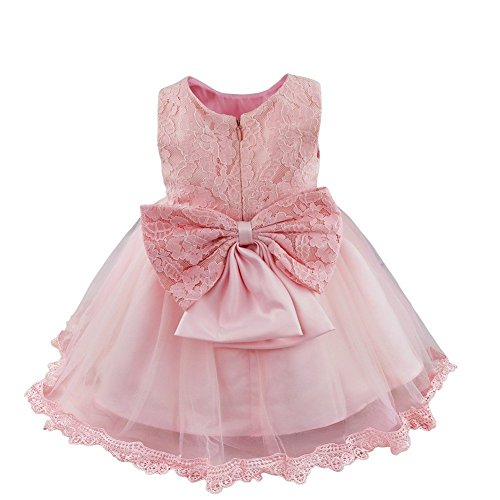 FEESHOW Baby Girls Bowknot Lace Flower Dress Wedding Baptism Christening Gown Pageant Birthday Tutu Dress Pink 12-18 Months