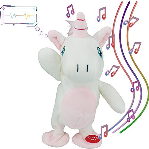 Talking Unicorn Repeat What You Say Toy - Walking&Rhyme Singing Stuffed Talking Animals,Plush Interactive Talking Unicorn Toys, Fun for 2,3 Year Old Kids,Child,Baby,Toddlers
