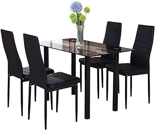 Modernes Glas-Esstisch mit bequemem Polsterstuhl,4 chairs black glass table