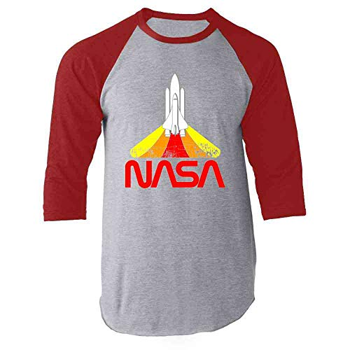 NASA Approved Blast Off Retro Worm Logo Red XL Raglan Baseball Tee Shirt