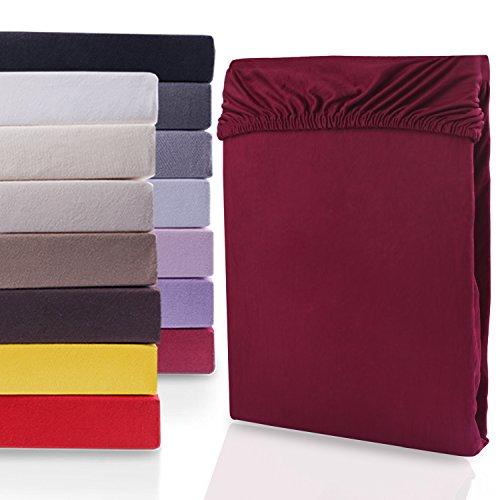 """#5 DecoKing Jersey Spannbettlaken, Spannbetttuch, Bettlaken, """"Nephrite Collection"""", 80x200 cm - 90x200 cm, Bordeaux"""