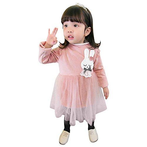Mädchen Langärmelige Cartoon Kaninchen Nähen winterkleider YunYoud abschlusskleider winterkleid festtagskleid günstige stufenrock kinderröcke schulanfangskleid wickelrock