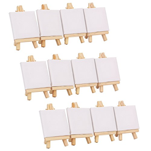"Tosnail 3"" x 3"" Mini Canvas & 3"" x 5"" Easel Set Painting Craft Drawing Art Decoration - 12 pcs"