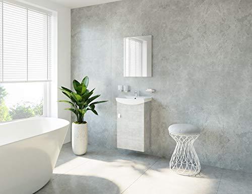 Wastafel + spiegel badmeubelset voor gasten, badkamertoilet beton