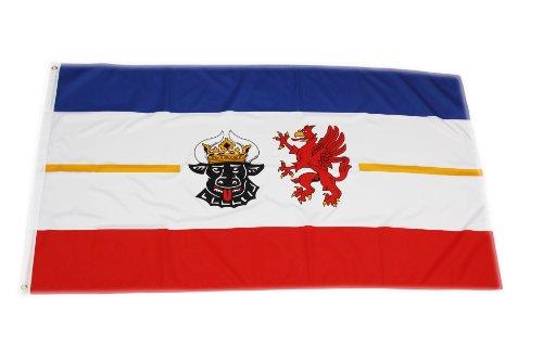 Original Handycop® Flagge Fahne F92784 Mecklenburg Vorpommern Landesflagge mit Wappen Landesdienstflagge 90 x 150 cm - wetterfeste Qualität