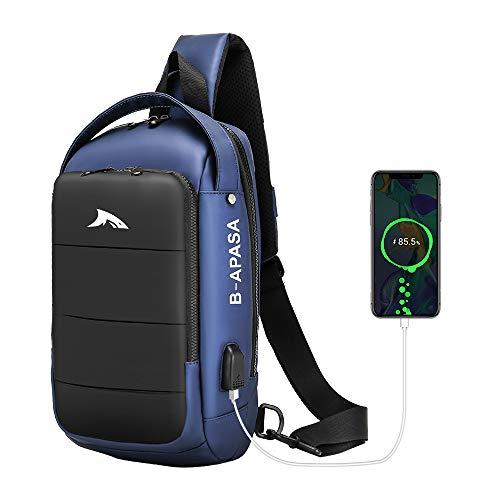 Brusttasche Sling Bag Umhängetaschen Sling Rucksack Crossbody Bag Backpack Schultertasche Herren für Hiking Sports Backpack Casual Daypack mit USB Ladeanschluss (Blue)