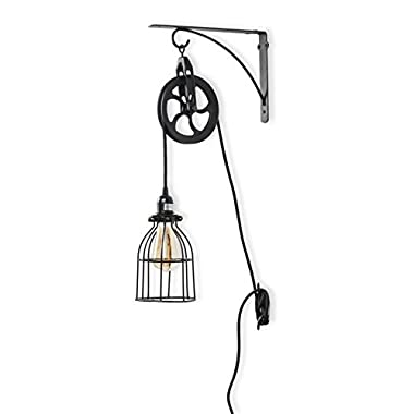 Rustic State Industrial Pulley Design Wall Sconces Pendant Lamp with 10 Feet Fabric Cord LED Edison Light Bulb in Black
