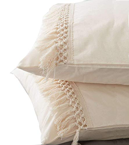 Flber Tassel Sham Set Cotton Pillow Covers,18.9in x29.1in,Set of 2