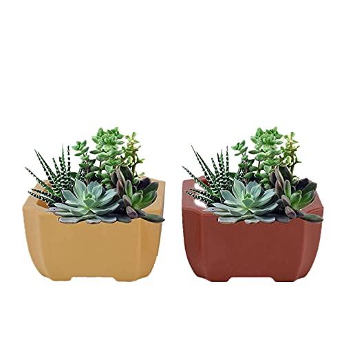 Hapivida 2 vasi da Fiori Quadrati Colorati in PU, Vaso per Piante da Interno Simulazione Super Resistente alla Caduta Vaso in gres Rosso per Piante di Carne e Piccole Piante in Vaso