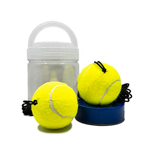 SAPNU Tennis Trainer Rebound Ball  Solo Tennis Trainer Rebounder with Elastic Cord and NonSlip Rubber Base  Self Study Portable Practice Equipment  Sports Gear Comes with Two Training Balls
