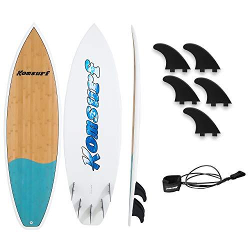 """Komsurf Fiberglass Surfboard, 6""""4/6""""10 Shortboard, 7""""6/8""""6 Longboard, Ocean Beach Boards Durable Waterproof and Flexible, for Beginner and Intermediate Surfers, Surf Board for Kids & Adults"""