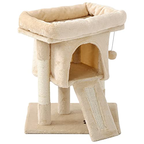 Lazyspace Torre tiragraffi con alberi tiragraffi in sisal, grande peluche imbottito e spazioso appartamento di proprietà, centri di attività per gatti, mobili per gatti, casa giochi, colore bianco