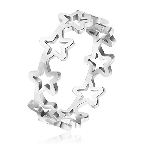 Qings Engagement Ring Anniversary Promise Wedding Band, Five-Pointed Star Hollow Ring, Silver Ring Jewellery Gifts for Women Girls
