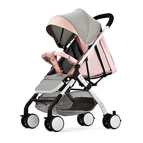 Xyanzi Convenience Baby Stroller, Cochecito De Cochecito Plegable De Un Solo Clic, Buggy De Viaje Compacto, Cinturón De Seguridad De Cinco Puntos, Asiento Variable Y Sillón Reclinable(Color:Rosa)