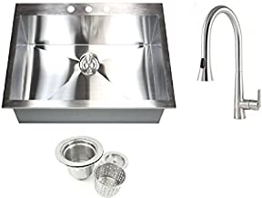 25 Inch Top-Mount / Drop-In Stainless Steel Single Bowl Zero Radius Design Sink and Ariel Eclipse Design Stainless Steel Faucet Combo