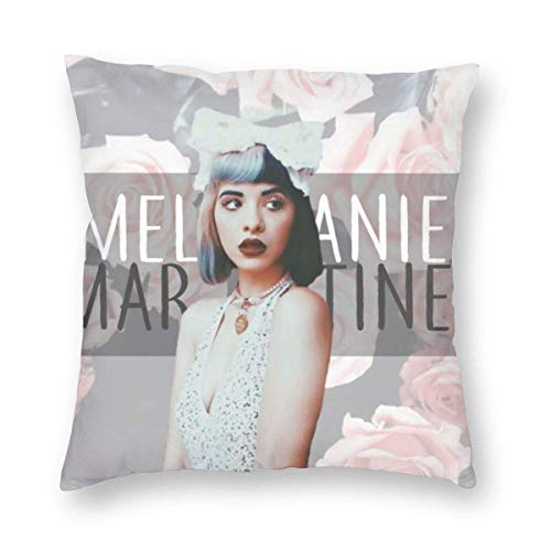 YZBEDSET Retro Decorative Throw Pillow Cover Case for Chair & Party, Girly Melanie Martinez Popular Singer Photo, Mite Proof Velvet Cushion Case with Zippered, 24 X 24 Inch