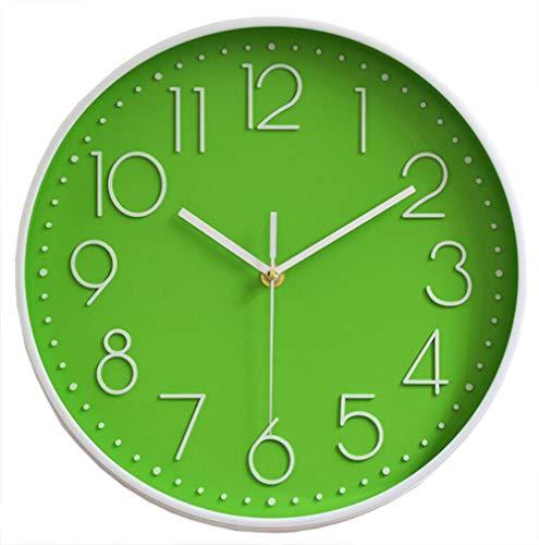 TOKTEKK Wanduhr, geräuschlos, nicht tickend, dekorativ, batteriebetrieben, runde Uhren für Zuhause, Büro, Schule, Wohnzimmer, Schlafzimmer, Küche, 30,5 cm, leicht zu lesen, Grün