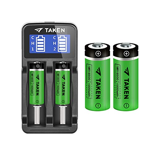 18500 Batteries with Charger, TAKEN IMR 18500 1500mAh 3.7V Li-ion Rechargeable Battery with Button Top, 4 Pack 18500 Rechargeable Battery with 2-Ports Charger