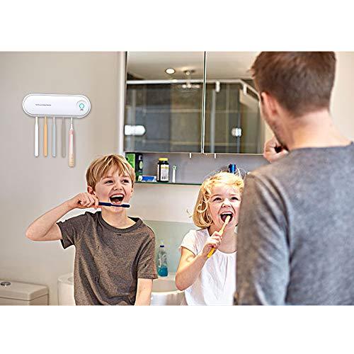 歯ブラシ除菌器UV紫外線殺菌消毒乾燥状態壁掛け式UV除菌機紫外線消毒歯ブラシケース自動タイマー自動電源オフ機能超静音99.99%除菌収納ケース歯ブラシホルダー電動歯ブラシにも対応家族用5本