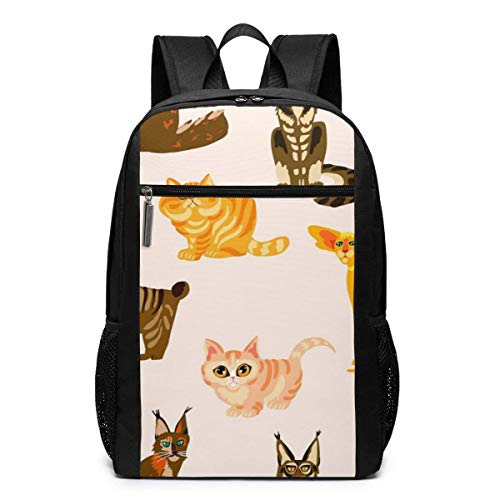 Longjin Cartoon Cats Bree Laptop Backpack 17-inch Laptop Backpack for High School Or College Bookbag