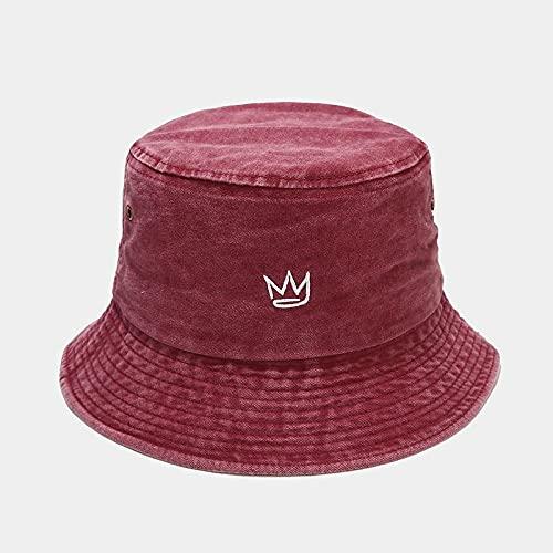 Bordado Sombrero De Pescador Moda Corona Sombreros De Cubo De Mezclilla Lavados Gorras Unisex Hip Hop Sombrero Para El Sol Hombres Mujeres Panamá Gorra De Cubo Sombreros De Arbusto,Rojo Vino,56,58Cm
