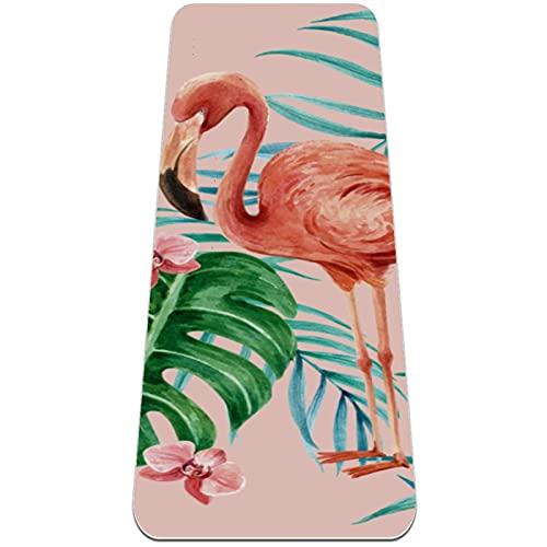 Esterilla de yoga, antideslizante, 1/4 pulgadas (6 mm) de grosor, 183 x 61 cm, TPE Fitness Mat para hombres y mujeres-flamenco y hojas de palma