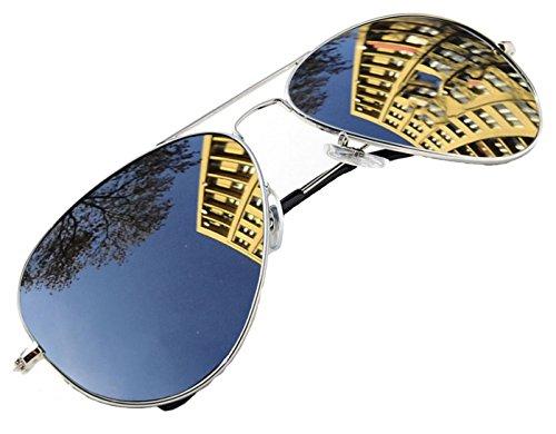 4sold Jungen Polarized Sonnenbrille Kids in vielen Farbkombinationen Klassische Unisex Sonnenbrille (Silver Frame Silver Polarized Mirror)