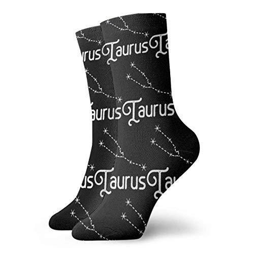 JONINOT Signos de astrologa del zodiaco TaurMen 's Essential Sports Casual Algodn Crew Calcetines Medias W8.5CM X L30CM