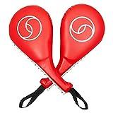 Almohadillas para golpes de Taekwondo (Par) - Almohadillas para entrenamiento de golpes de Kickboxing y artes marciales, Rojas y Blancas, 38 cm x 19 cm x 6,4 cm