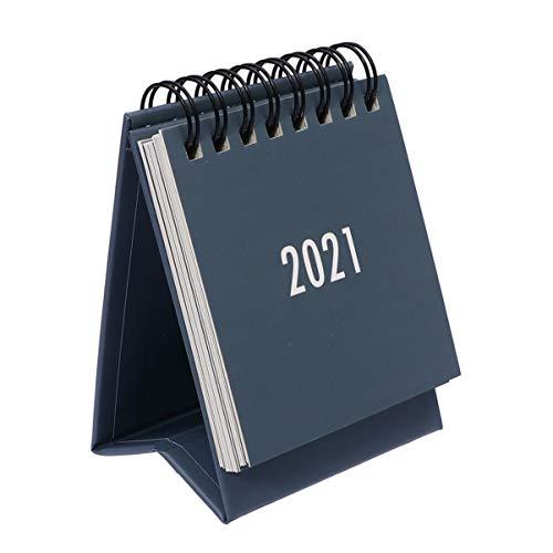 NUOBESTY Mini 2021 Calendario de escritorio mensual Flip Calendario de escritorio Planificador 2021 Año Nuevo Suministros de fiesta Regalos Gris