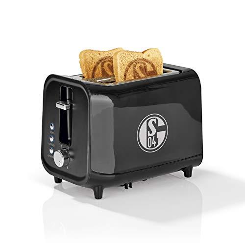 Schalke 04 Toaster mit Soundfunktion | Brennt das FC Logo aufs Toastbrot | Spielt Steht auf, wenn Ihr Schalker seid, wenn Toast fertig ist | 6 Bräunungsstufen [Schwarz/Silber]
