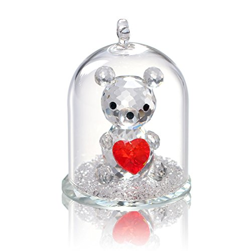 H & D small crystal bear figure collection in a glass dome Christmas wedding decoration, glass, Love-Bear
