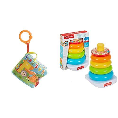 Fisher-Price Libro Activity bebé, Juguete Colgante para bebé recién Nacido (Mattel FGJ40) + - Pirámide Balanceante, Juguete para Bebé +6 Meses (Mattel FHC92)