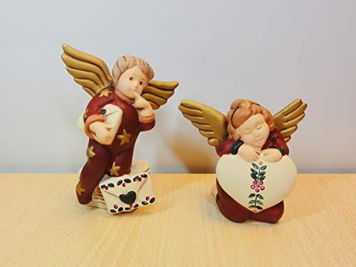 Due Angeli - Statuine in Ceramica Artistica Wald - 2 Statuine Angioletti: Angioletto Con Busta e Angioletto Con Cuore