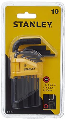 Stanley Juego 10 Llaves hexagonales 1,5-10mm-tipo Libro 0-69-253, 1.5-10mm