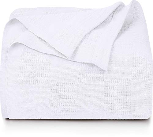Utopia Bedding Premium Cotton Blanket Queen White - Soft Breathable Thermal Blanket 350 GSM - Ideal for Layering Any Bed