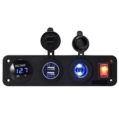 Rupse Zigarettenanzünder, Auto Adapter Steckdose Ladegerät mit Dual USB-Buchse Verteiler LED Voltmeter für Auto KFZ LKW Motorrad (Schwarz)