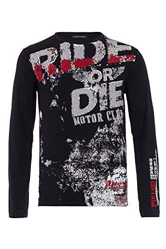 Cipo & Baxx Herren Sweatshirt Longsleeve Pullover Biker Design Rockig Sweatpullover Totenkopf mit Ziersteinen Schwarz XL