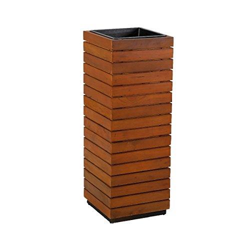 greemotion Pflanzsäule, Akazienholz FSC 100 Prozent, eckig, mit Einsatz, 94 cm hoch
