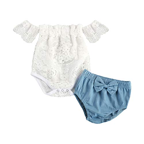 Newborn Baby Girl Short Sleeve Off The Shoulder Lace Romper Top + Denim Shorts 2Pcs Summer Outfits (White, 6-12 Months)